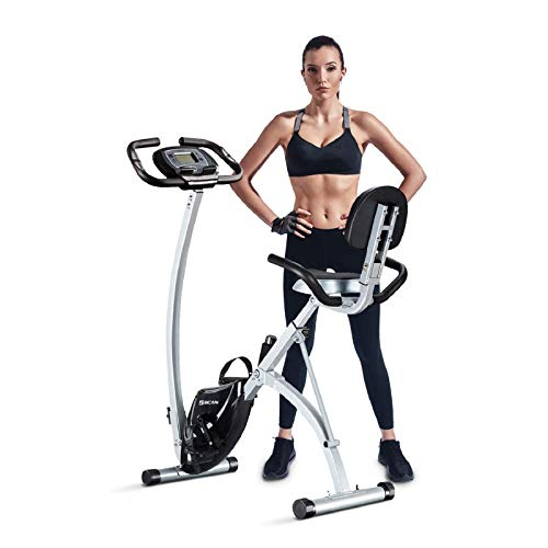 BCAN Folding Exercise Bike, Magnetic Upright...