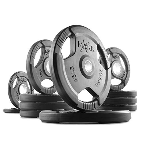 XMark TRI-Grip 155 lb Set Olympic Plates,...