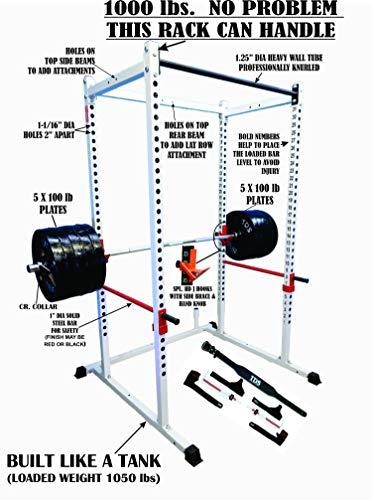 TDS Mega 1000 lb Rated White Power Rack,...