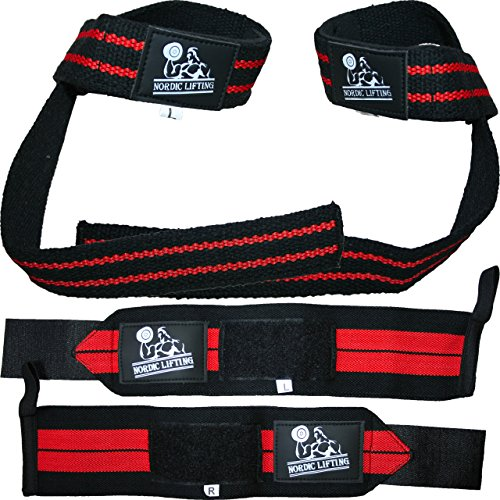 Wrist Wraps + Lifting Straps Bundle (2 Pairs)...