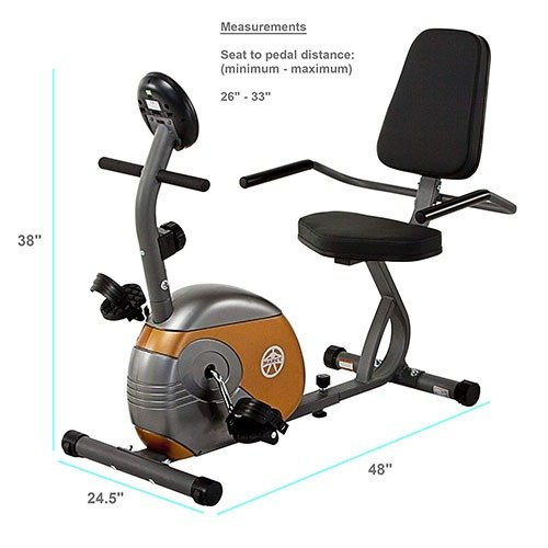 Marcy Recumbent Exercise Bike ME-709 Dimensions