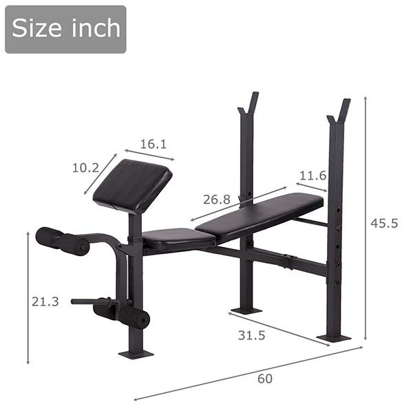 BestMassage Adjustable Weight Bench Dimensions