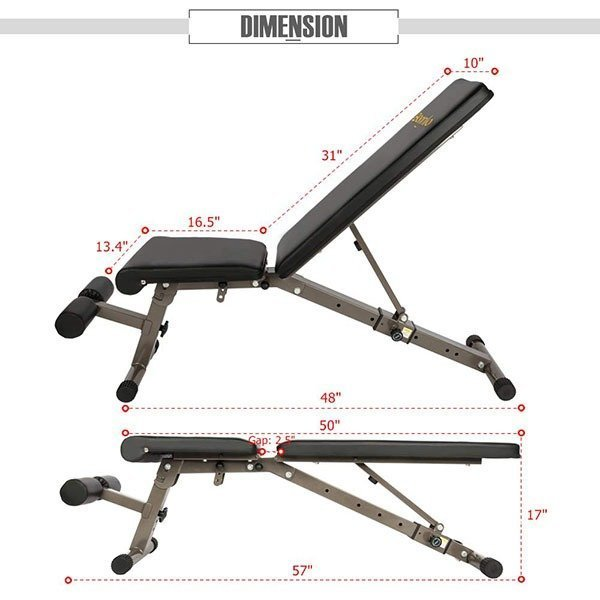 Bonnlo Upgraded Adjustable Bench Dimensions