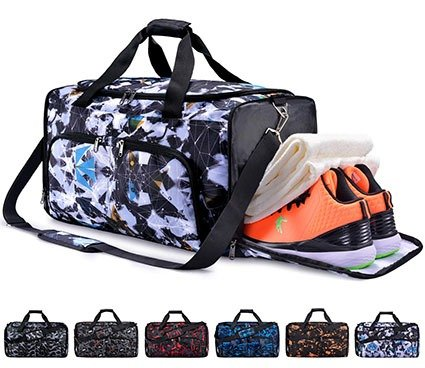 FANCYOUT Sports Gym Bag with Shoes Compartment