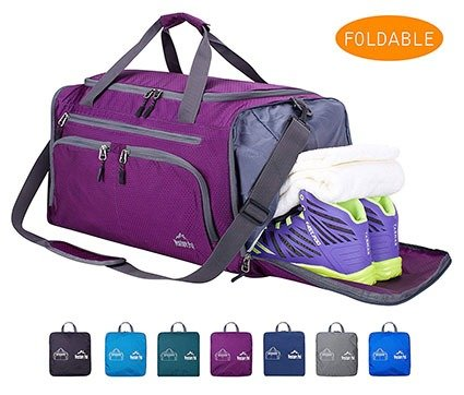Venture Pal 20 inch Packable Sports Gym Bag with Wet Pocket & Shoes Compartment