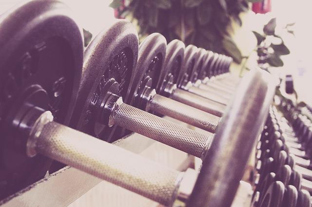 dumbells on a rack